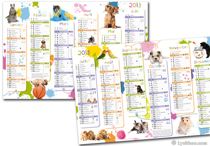 Calendrier Animaux Domestiques