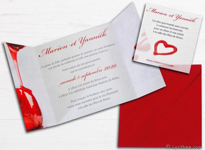 Carton d'invitation au dîner Mariage Pomme d'Amour