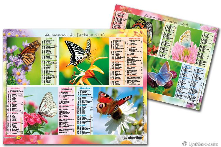 Calendrier de la Poste Fleurs & Papillons