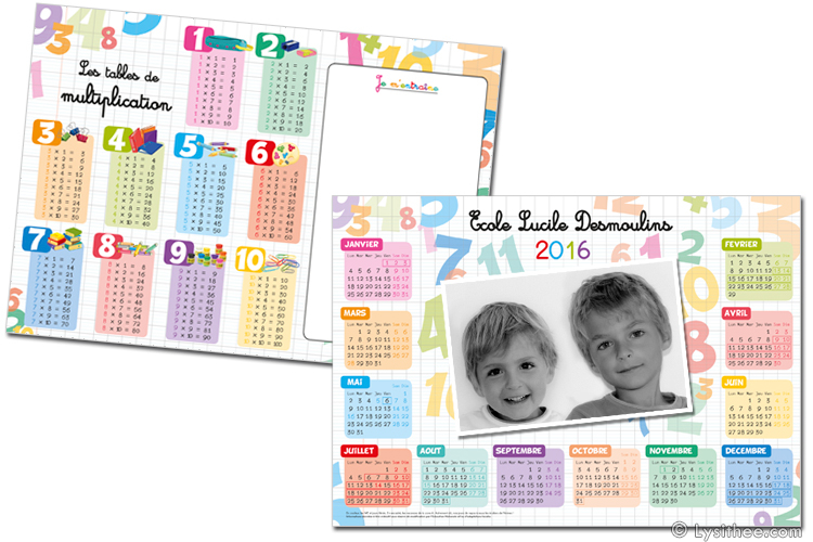 Calendrier Ecole Multiplications