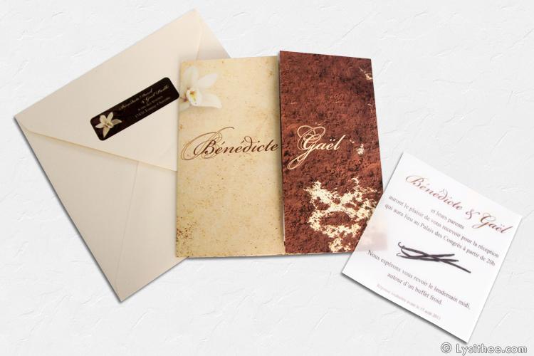 Carton d'invitation au dîner Mariage Chocolat & Vanille