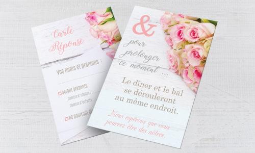 Carton d'invitation au dîner Mariage Romantique
