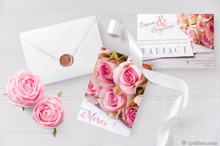Carton de remerciements Mariage Romantique