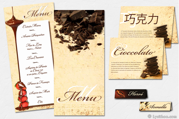 Menu Mariage Chocolat & Vanille