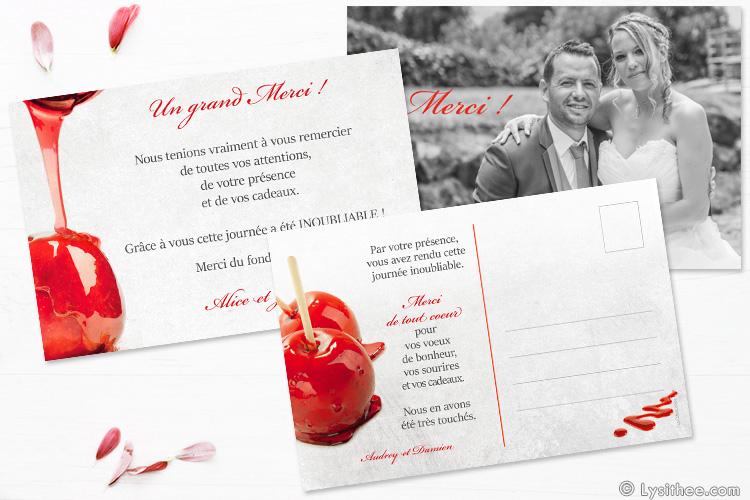 Carton de remerciements Mariage Pomme d'Amour