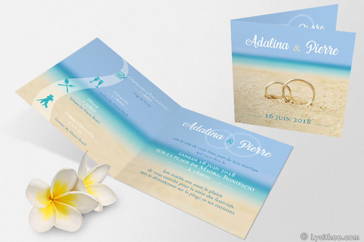 Faire-Part Mariage Alliances Plage