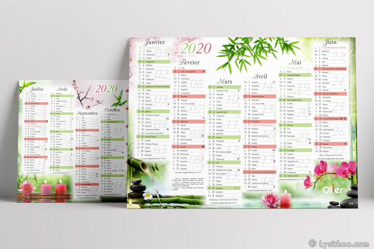 Calendrier Zen, ambiance rose
