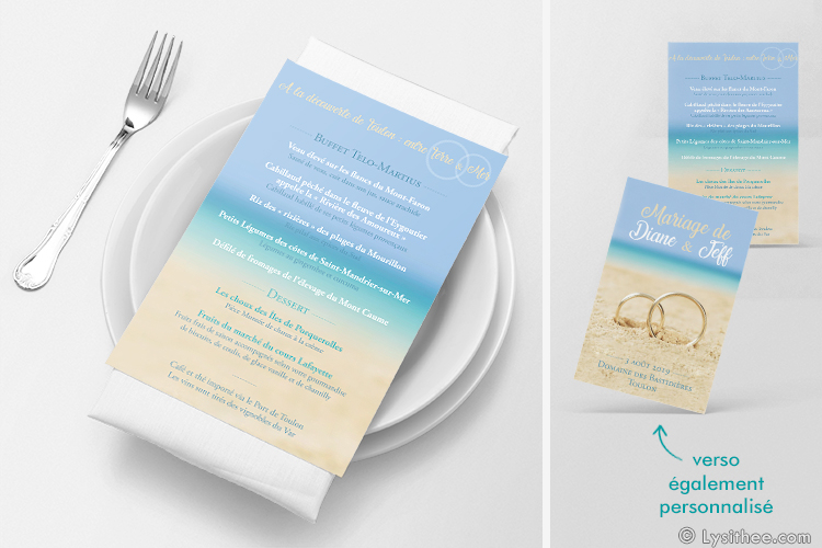Menu Mariage Mariage Alliances Plage