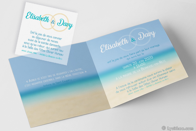 Invitation Mariage Mariage Alliances Plage