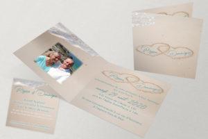 Faire-Part Mariage Coeurs Ensablés Turquoise