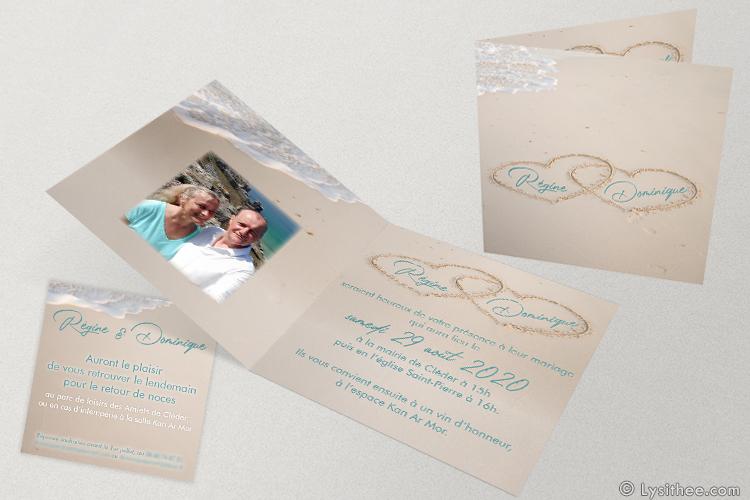 Faire-part et Invitation Mariage Cœurs Ensablés Turquoise