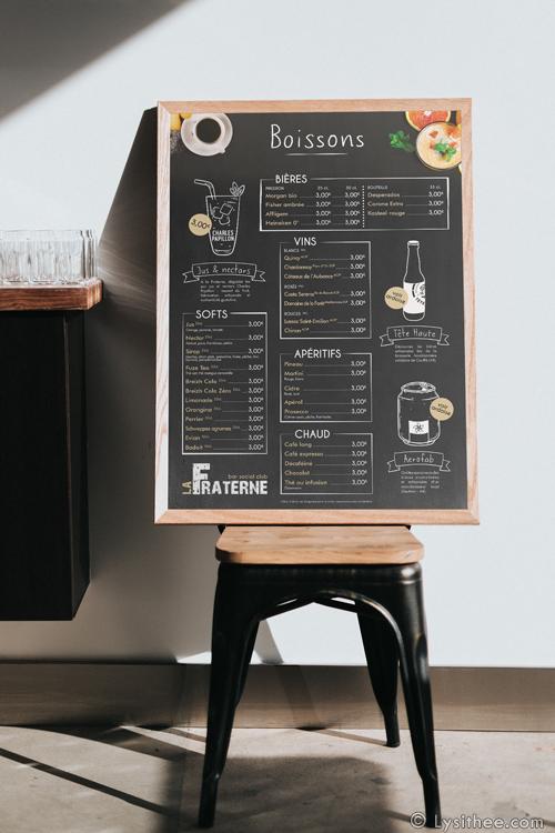 Carte des boissons Bar de la Fraterne